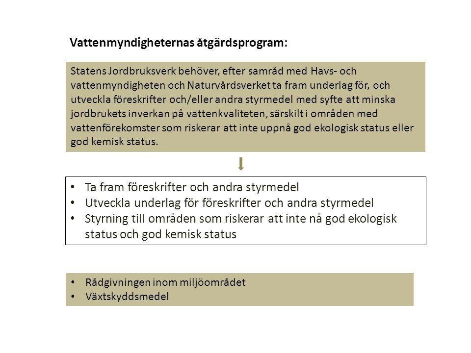 Vattenmyndigheternas åtgärdsprogram: Statens Jordbruksverk behöver, efter samråd med Havs- och vattenmyndigheten och Naturvårdsverket ta fram underlag