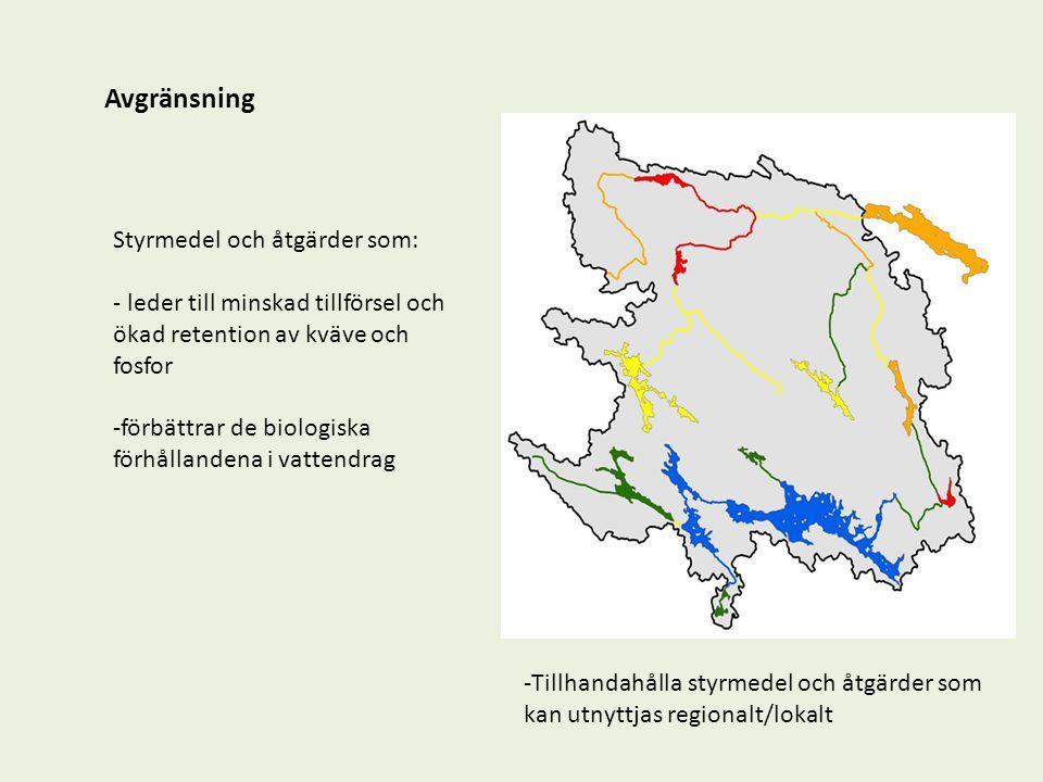 Förutsättningar och utgångspunkter : Det finns befintliga styrmedel och åtgärder i miljöbalken och landsbygdsprogrammet mm Miljöbalken: Miljökvalitetsnormer Tillståndsbeslut Generella föreskrifter Vattenlagstiftning Vattenskyddsområden Landsbygdsprogram och andra ersättningar: Rådgivning, Greppa Näringen Miljöersättningar Miljöinvesteringar LOVA mm Det pågår processer som kommer att påverkar hur nya styrmedel och åtgärder kan utformas: Ny gemensam jordbrukspolitik fr.o.m.