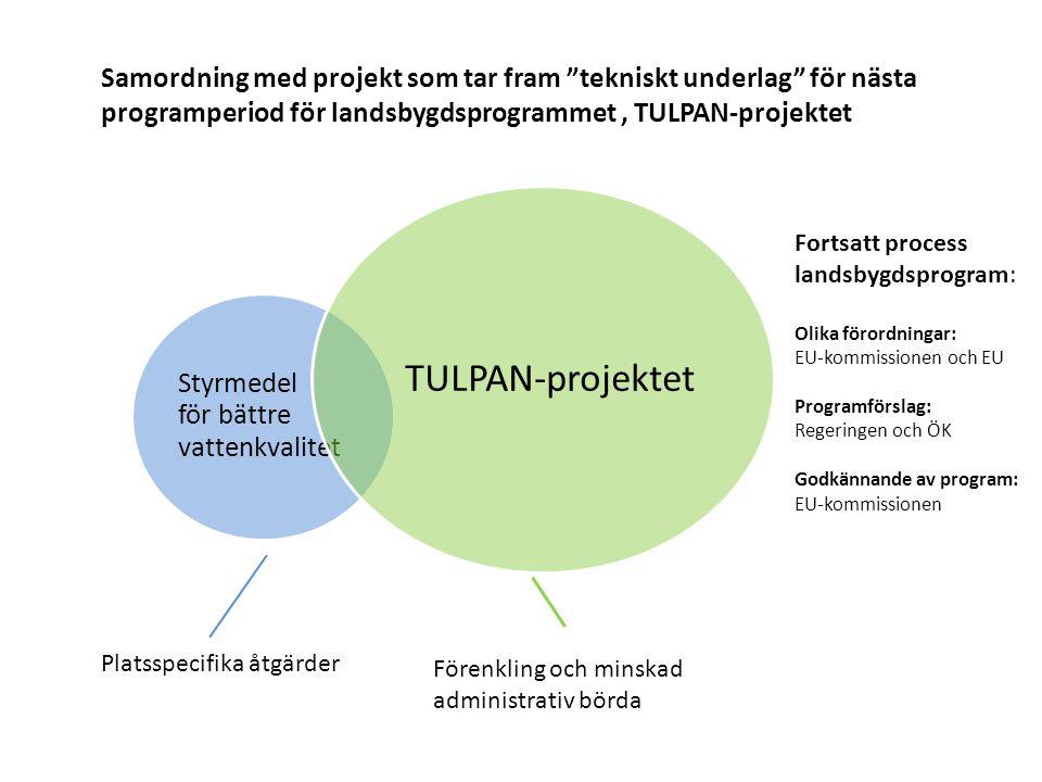 Styrmedel för bättre vattenkvalitet TULPAN-projektet Förenkling och minskad administrativ börda Platsspecifika åtgärder Samordning med projekt som tar