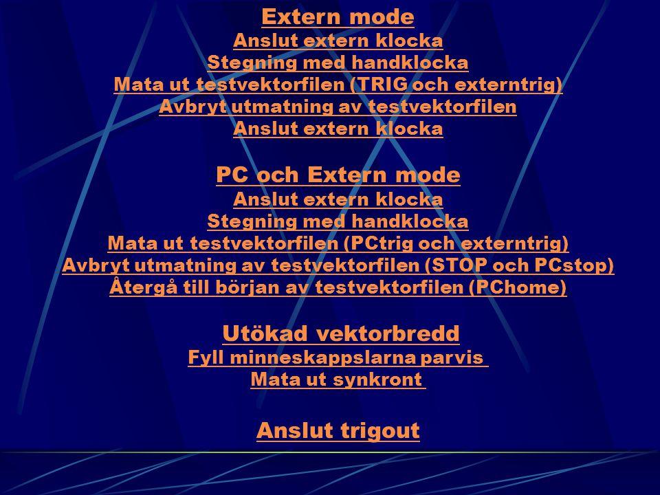 Extern mode Anslut extern klocka Stegning med handklocka Mata ut testvektorfilen (TRIG och externtrig) Avbryt utmatning av testvektorfilen Anslut extern klocka PC och Extern mode Anslut extern klocka Stegning med handklocka Mata ut testvektorfilen (PCtrig och externtrig) Avbryt utmatning av testvektorfilen (STOP och PCstop) Återgå till början av testvektorfilen (PChome) PC och Extern mode Anslut extern klocka Stegning med handklocka Mata ut testvektorfilen (PCtrig och externtrig) Avbryt utmatning av testvektorfilen (STOP och PCstop) Återgå till början av testvektorfilen (PChome) Utökad vektorbredd Fyll minneskappslarna parvis Mata ut synkront Anslut trigout Utökad vektorbredd Fyll minneskappslarna parvis Mata ut synkront Anslut trigout