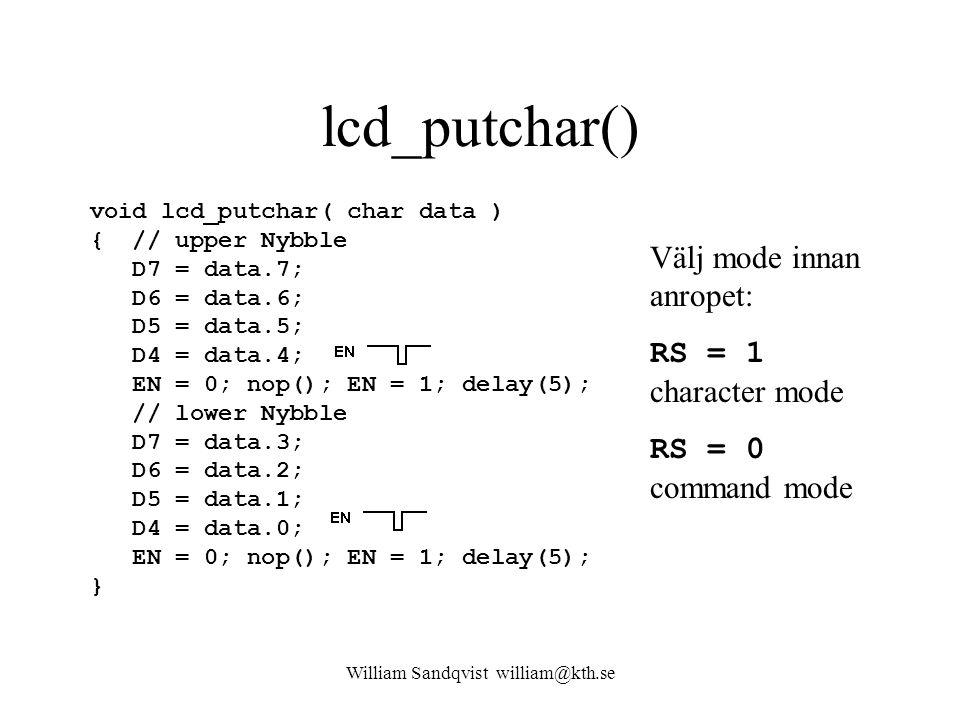 William Sandqvist william@kth.se lcd_putchar() void lcd_putchar( char data ) { // upper Nybble D7 = data.7; D6 = data.6; D5 = data.5; D4 = data.4; EN = 0; nop(); EN = 1; delay(5); // lower Nybble D7 = data.3; D6 = data.2; D5 = data.1; D4 = data.0; EN = 0; nop(); EN = 1; delay(5); } Välj mode innan anropet: RS = 1 character mode RS = 0 command mode