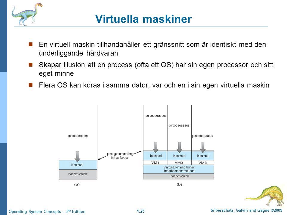 1.25 Silberschatz, Galvin and Gagne ©2009 Operating System Concepts – 8 th Edition Virtuella maskiner En virtuell maskin tillhandahåller ett gränssnit