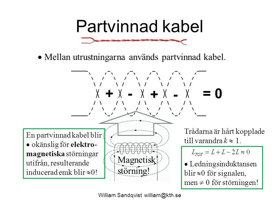 Partvinnad kabel William Sandqvist william@kth.se + - +- = 0 En partvinnad kabel blir  okänslig för elektro- magnetiska störningar utifrån, resultera