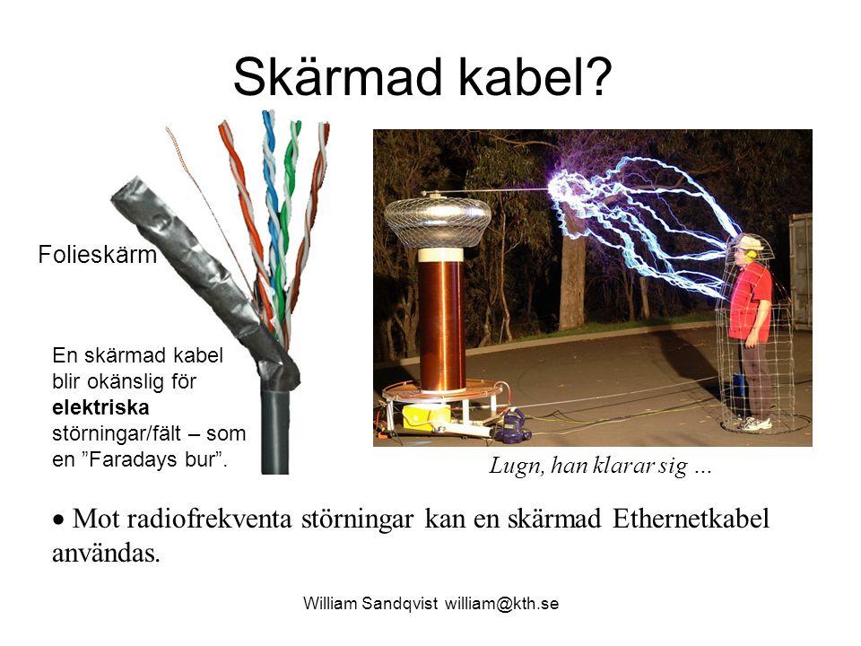 """Skärmad kabel? William Sandqvist william@kth.se En skärmad kabel blir okänslig för elektriska störningar/fält – som en """"Faradays bur"""".  Mot radiofrek"""
