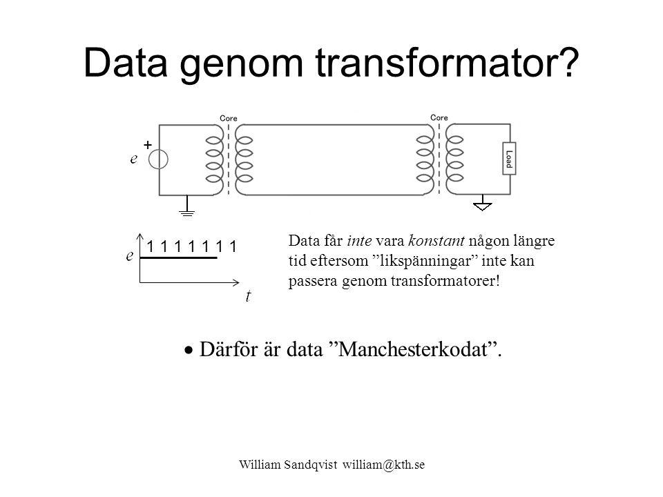 """Data genom transformator? William Sandqvist william@kth.se + Data får inte vara konstant någon längre tid eftersom """"likspänningar"""" inte kan passera ge"""
