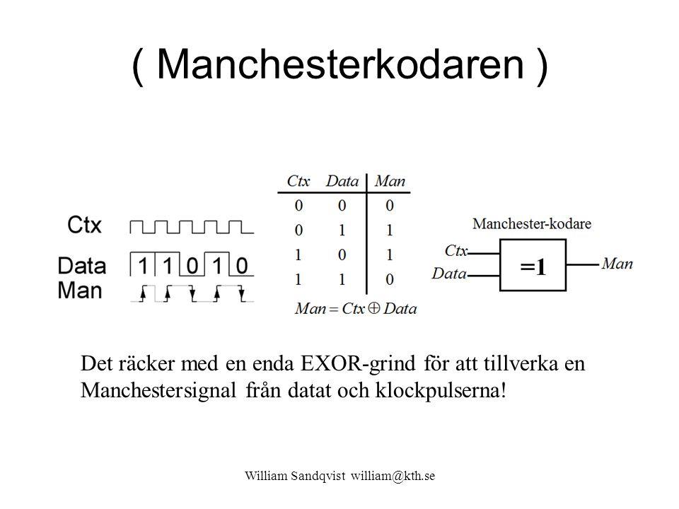 ( Manchesterkodaren ) William Sandqvist william@kth.se Det räcker med en enda EXOR-grind för att tillverka en Manchestersignal från datat och klockpul