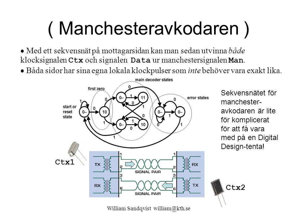 William Sandqvist william@kth.se ( Manchesteravkodaren )  Med ett sekvensnät på mottagarsidan kan man sedan utvinna både klocksignalen Ctx och signal