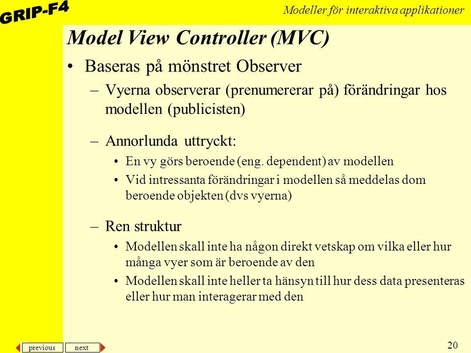 previous next 20 Modeller för interaktiva applikationer Model View Controller (MVC) Baseras på mönstret Observer –Vyerna observerar (prenumererar på) förändringar hos modellen (publicisten) –Annorlunda uttryckt: En vy görs beroende (eng.
