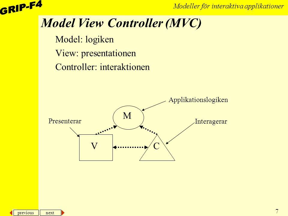 previous next 28 Modeller för interaktiva applikationer Händelselyssnare Händelser till ett fönster eller komponent tas omhand av händelselyssnare –påminner mycket om mönstret Observer, och i grafiska sammanhang om MVC, fast dom beroende objekten, dvs lyssnarna, måste implementera ett mer varierat utbud av metoder beroende av typ av lyssnare måste olika API:er implementeras Olika typer av lyssnare tar hand om olika typer av händelser, MouseListener, WindowListener, FocusListener, ActionListener, osv –Namnet är uppbyggt på följande sätt: HändelsetypListener Till varje lyssnare finns ett speciellt interface som beskriver vilka metoder som lyssnaren implementerar Lyssnarna och deras interface tillhör ett gemensamt package nämligen: java.awt.event