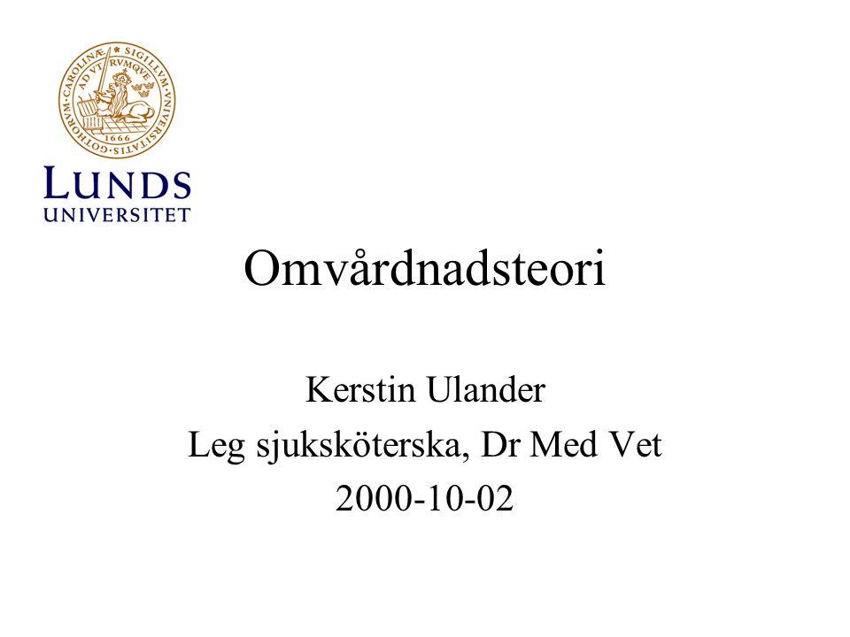 Omvårdnadsteori Kerstin Ulander Leg sjuksköterska, Dr Med Vet 2000-10-02