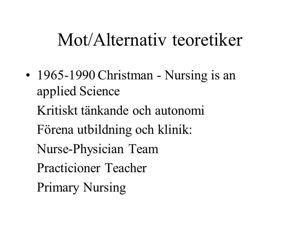 Mot/Alternativ teoretiker 1965-1990 Christman - Nursing is an applied Science Kritiskt tänkande och autonomi Förena utbildning och klinik: Nurse-Physi