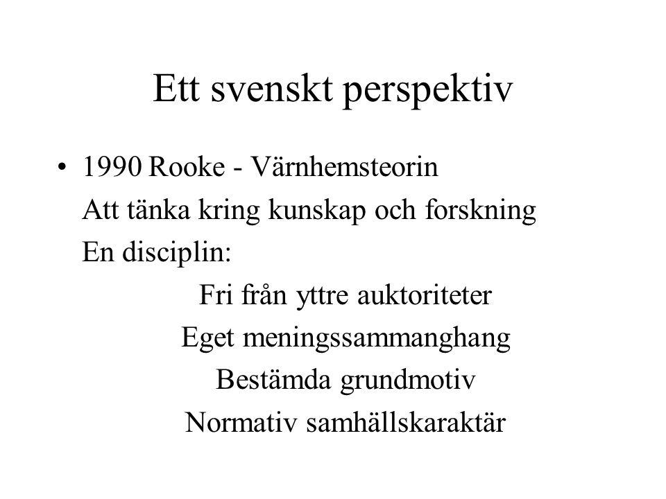 Ett svenskt perspektiv 1990 Rooke - Värnhemsteorin Att tänka kring kunskap och forskning En disciplin: Fri från yttre auktoriteter Eget meningssammang