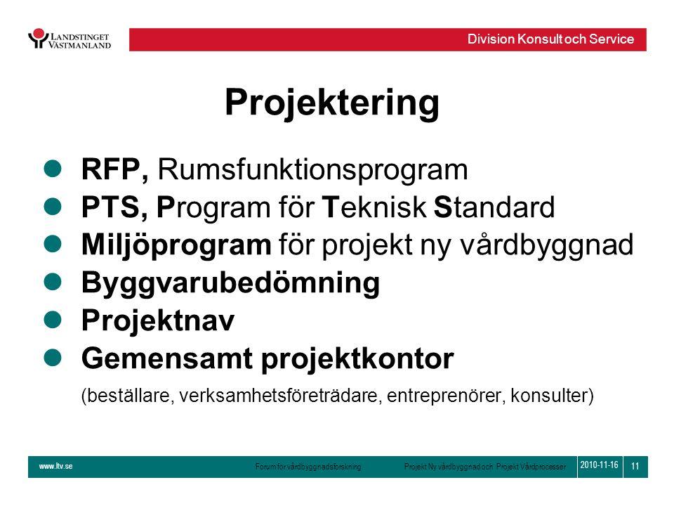 www.ltv.se Forum för vårdbyggnadsforskning Projekt Ny vårdbyggnad och Projekt Vårdprocesser Division Konsult och Service 11 2010-11-16 Projektering lR