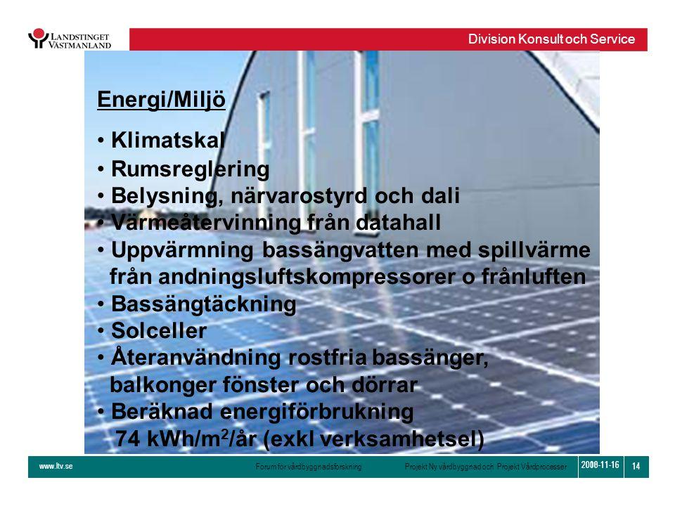 www.ltv.se Forum för vårdbyggnadsforskning Projekt Ny vårdbyggnad och Projekt Vårdprocesser Division Konsult och Service 14 2010-11-16 14 2008-11-16 E