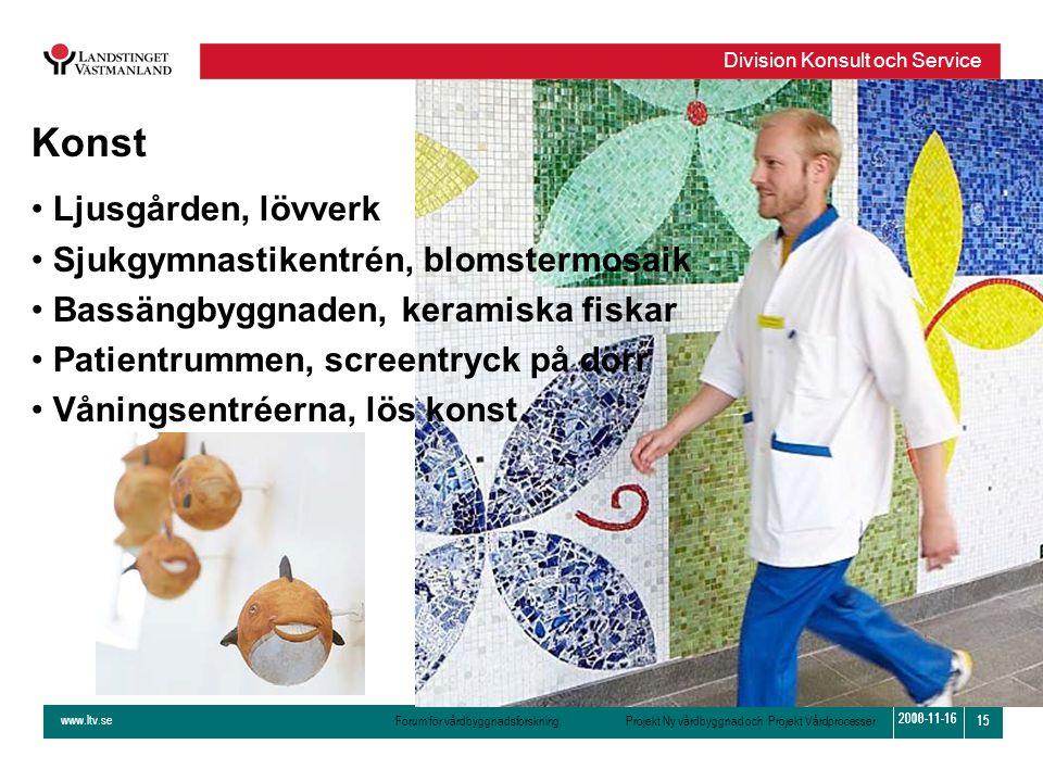 www.ltv.se Forum för vårdbyggnadsforskning Projekt Ny vårdbyggnad och Projekt Vårdprocesser Division Konsult och Service 15 2010-11-16 15 2008-11-16 K