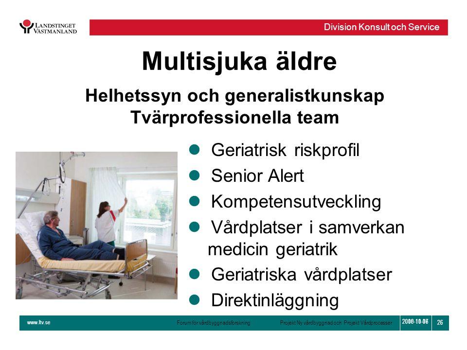 www.ltv.se Forum för vårdbyggnadsforskning Projekt Ny vårdbyggnad och Projekt Vårdprocesser Division Konsult och Service 26 2010-11-16 26 2008-10-07 M