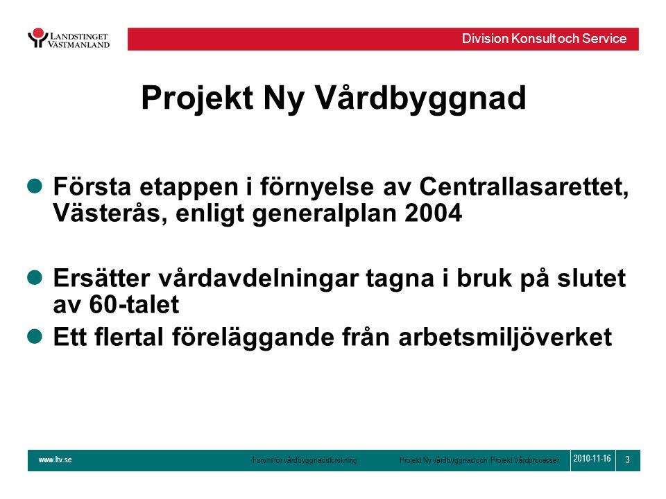 www.ltv.se Forum för vårdbyggnadsforskning Projekt Ny vårdbyggnad och Projekt Vårdprocesser Division Konsult och Service 3 2010-11-16 Projekt Ny Vårdb