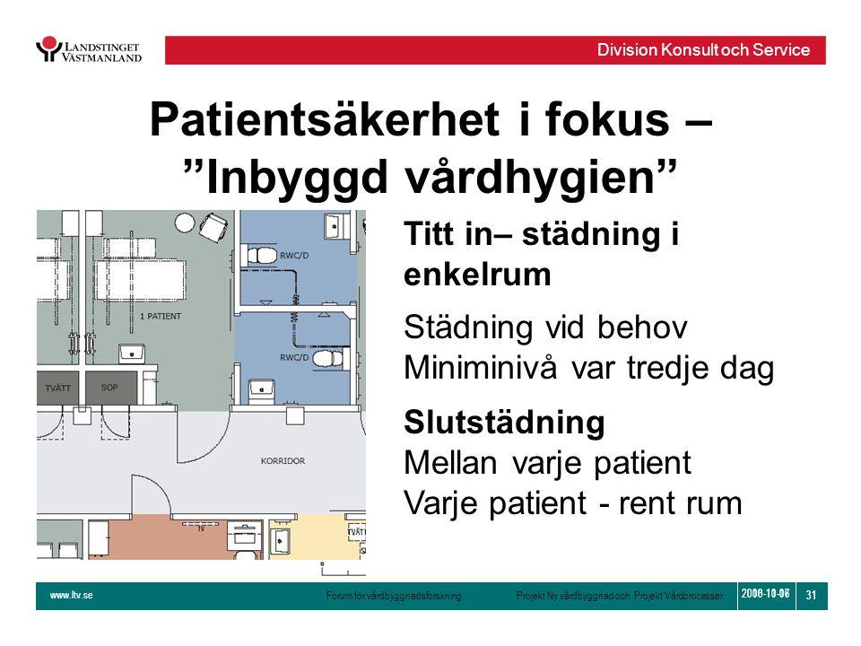 www.ltv.se Forum för vårdbyggnadsforskning Projekt Ny vårdbyggnad och Projekt Vårdprocesser Division Konsult och Service 31 2010-11-16 31 2008-10-07 T