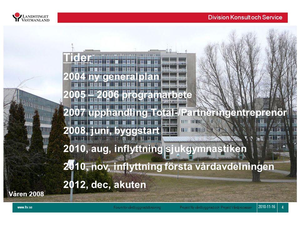 www.ltv.se Forum för vårdbyggnadsforskning Projekt Ny vårdbyggnad och Projekt Vårdprocesser Division Konsult och Service 4 2010-11-16 Våren 2008 Tider