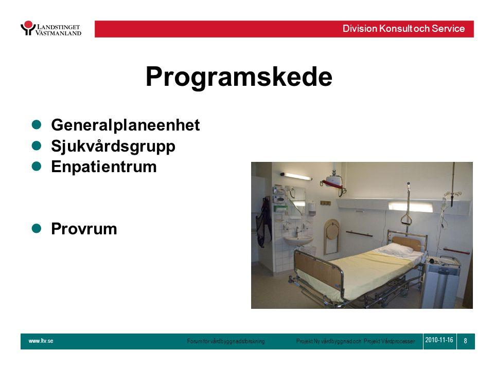 www.ltv.se Forum för vårdbyggnadsforskning Projekt Ny vårdbyggnad och Projekt Vårdprocesser Division Konsult och Service 8 2010-11-16 Programskede lGe
