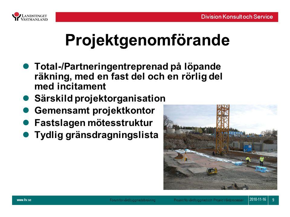 www.ltv.se Forum för vårdbyggnadsforskning Projekt Ny vårdbyggnad och Projekt Vårdprocesser Division Konsult och Service 9 2010-11-16 Projektgenomföra