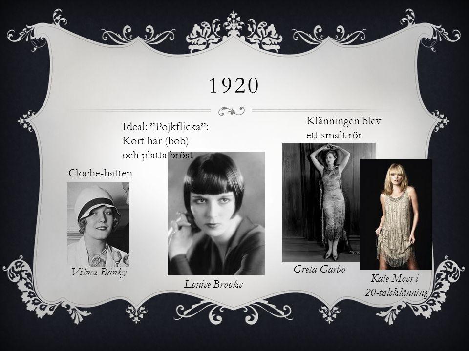 """1920 Ideal: """"Pojkflicka"""": Kort hår (bob) och platta bröst Cloche-hatten Vilma Bánky Louise Brooks Klänningen blev ett smalt rör Kate Moss i 20-talsklä"""