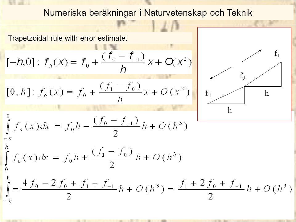 Trapetzoidal rule with error estimate: f -1 f0f0 f1f1 h h Numeriska beräkningar i Naturvetenskap och Teknik