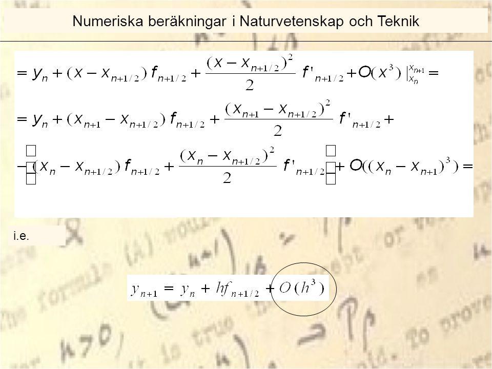 i.e. Numeriska beräkningar i Naturvetenskap och Teknik