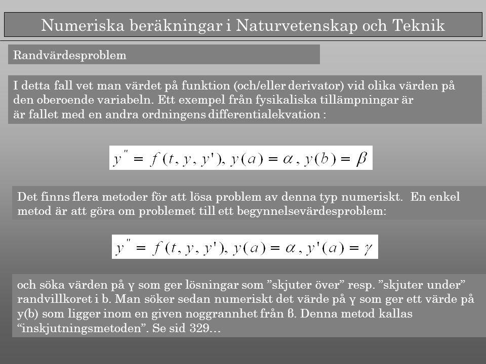 Numeriska beräkningar i Naturvetenskap och Teknik Randvärdesproblem I detta fall vet man värdet på funktion (och/eller derivator) vid olika värden på den oberoende variabeln.