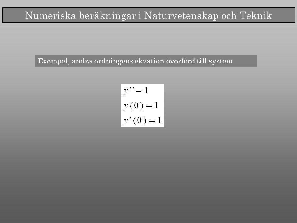 Numeriska beräkningar i Naturvetenskap och Teknik Exempel, andra ordningens ekvation överförd till system