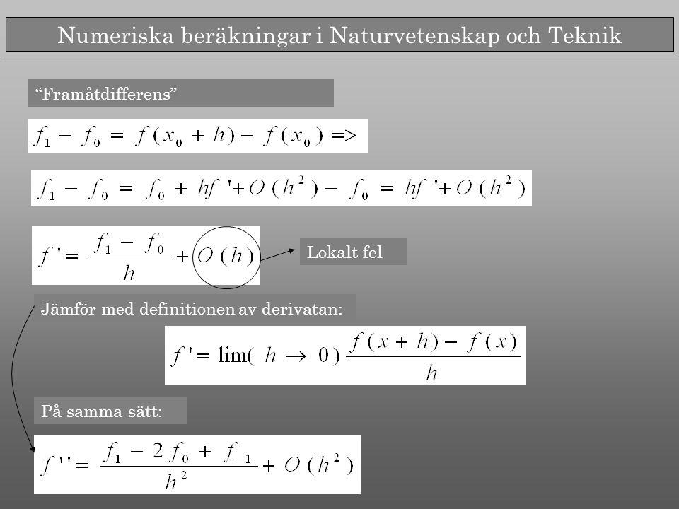 Numeriska beräkningar i Naturvetenskap och Teknik Framåtdifferens Jämför med definitionen av derivatan: Lokalt fel På samma sätt: