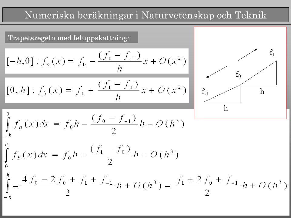 Numeriska beräkningar i Naturvetenskap och Teknik Trapetsregeln med feluppskattning: f -1 f0f0 f1f1 h h