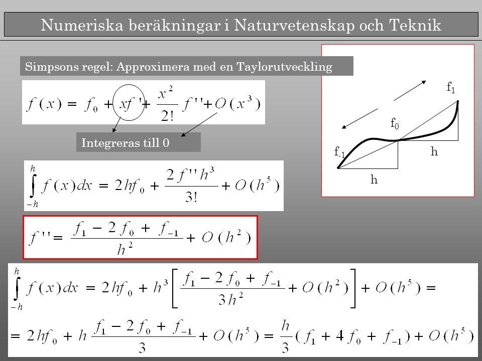 Numeriska beräkningar i Naturvetenskap och Teknik f -1 f0f0 f1f1 h h Simpsons regel: Approximera med en Taylorutveckling Integreras till 0