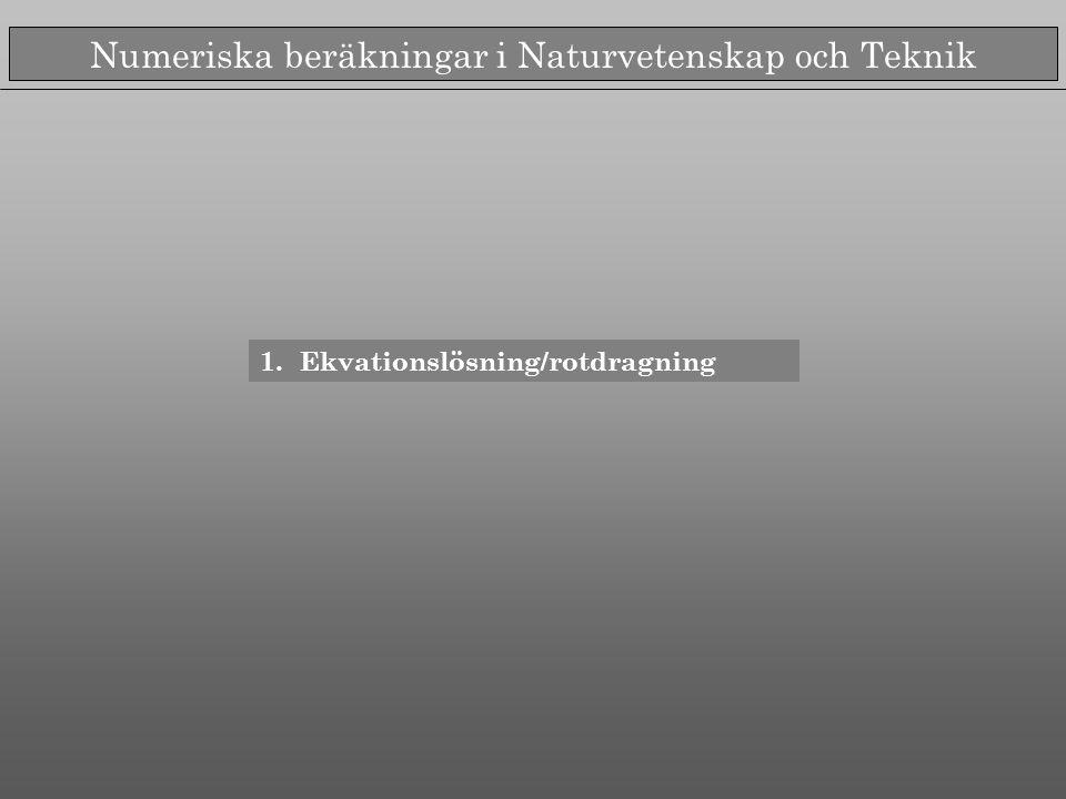 Numeriska beräkningar i Naturvetenskap och Teknik 1.Ekvationslösning/rotdragning