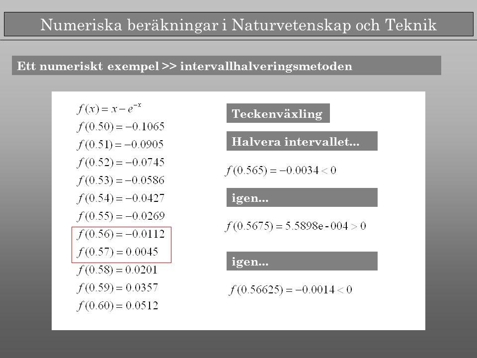 Numeriska beräkningar i Naturvetenskap och Teknik Ett numeriskt exempel >> intervallhalveringsmetoden Teckenväxling Halvera intervallet... igen...