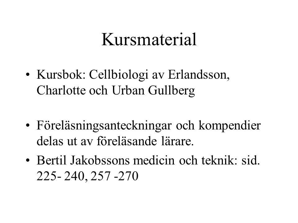 Kursmaterial Kursbok: Cellbiologi av Erlandsson, Charlotte och Urban Gullberg Föreläsningsanteckningar och kompendier delas ut av föreläsande lärare.