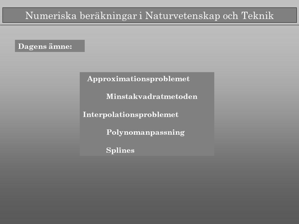Numeriska beräkningar i Naturvetenskap och Teknik Dagens ämne: Approximationsproblemet Minstakvadratmetoden Interpolationsproblemet Polynomanpassning