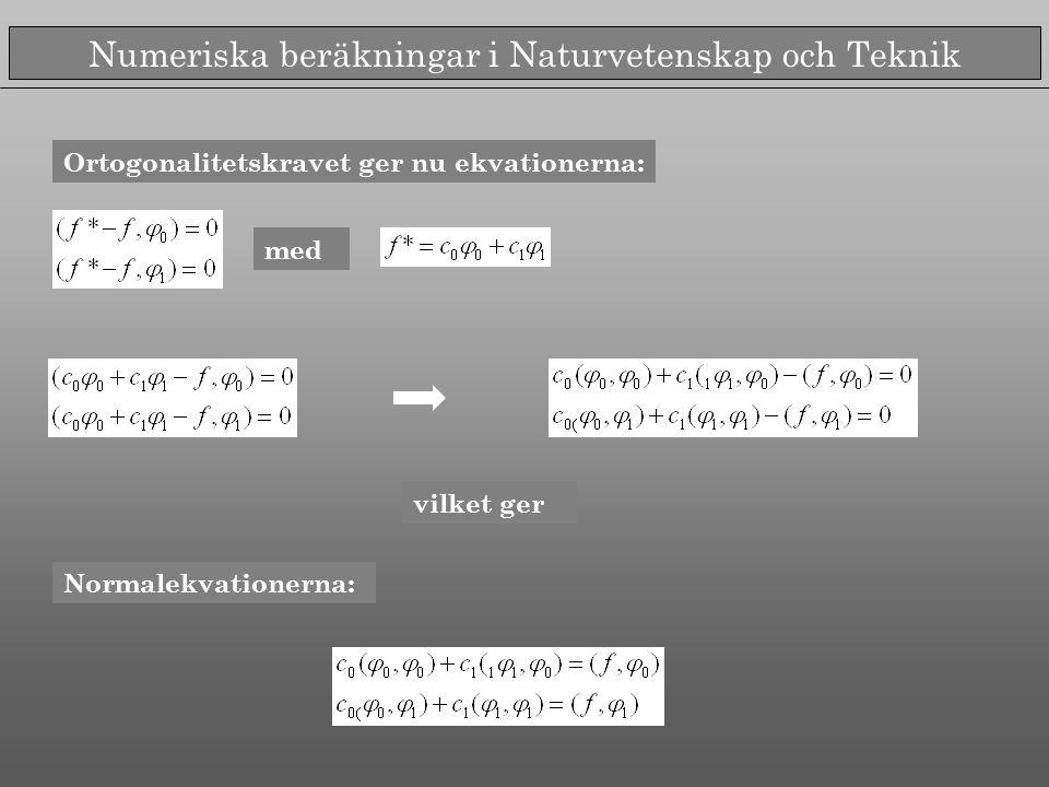 Numeriska beräkningar i Naturvetenskap och Teknik Ortogonalitetskravet ger nu ekvationerna: med Normalekvationerna: vilket ger