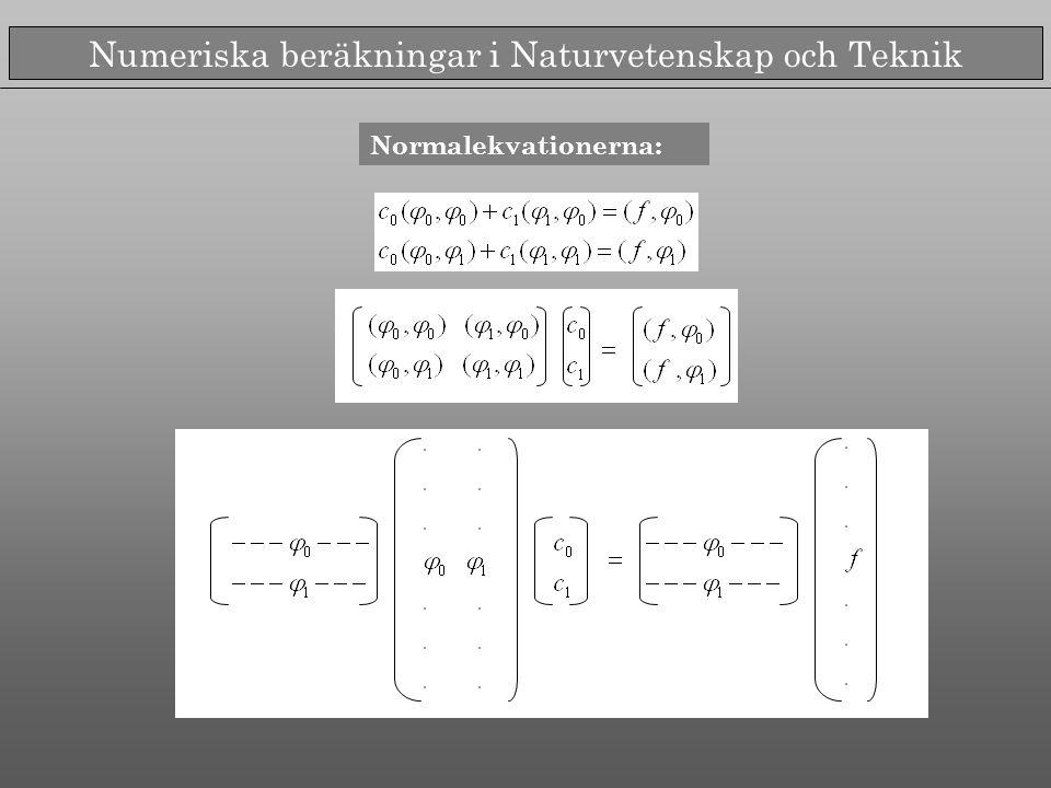 Numeriska beräkningar i Naturvetenskap och Teknik Normalekvationerna:
