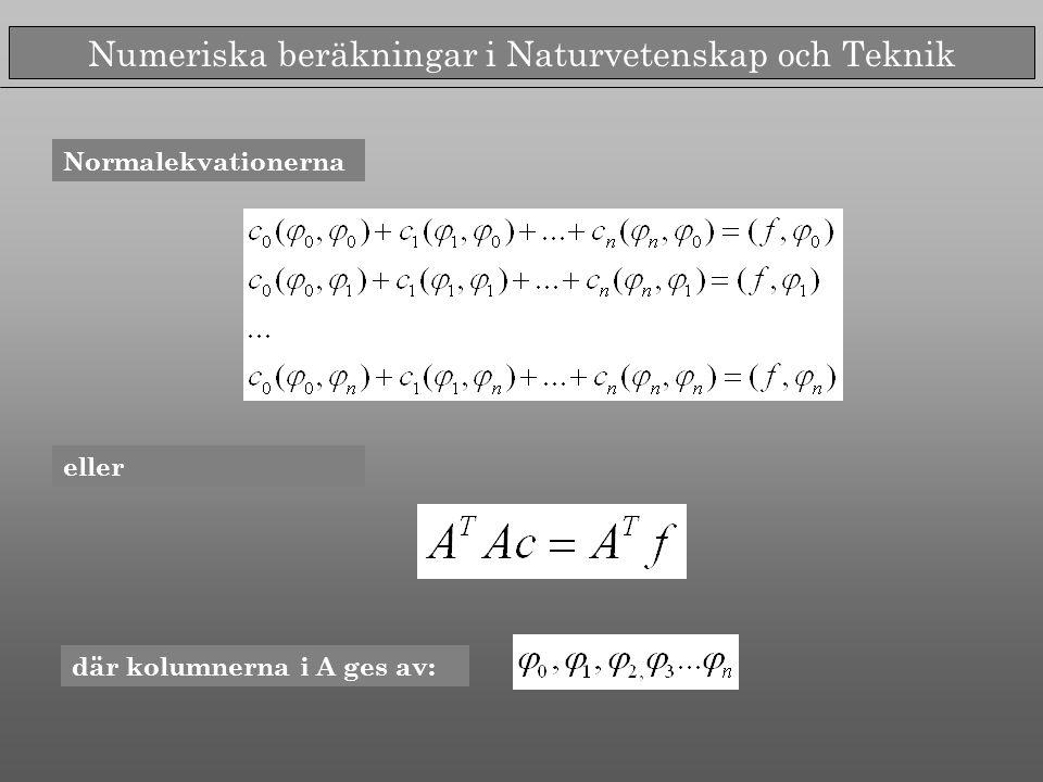 Numeriska beräkningar i Naturvetenskap och Teknik Normalekvationerna eller där kolumnerna i A ges av: