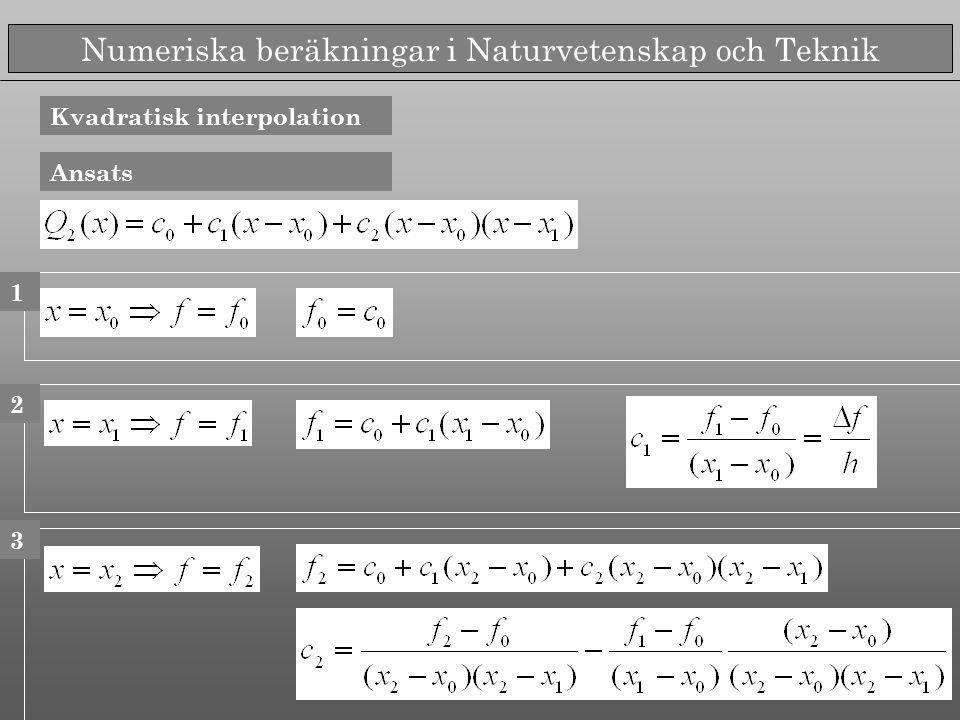 Numeriska beräkningar i Naturvetenskap och Teknik Kvadratisk interpolation Ansats 1 2 3