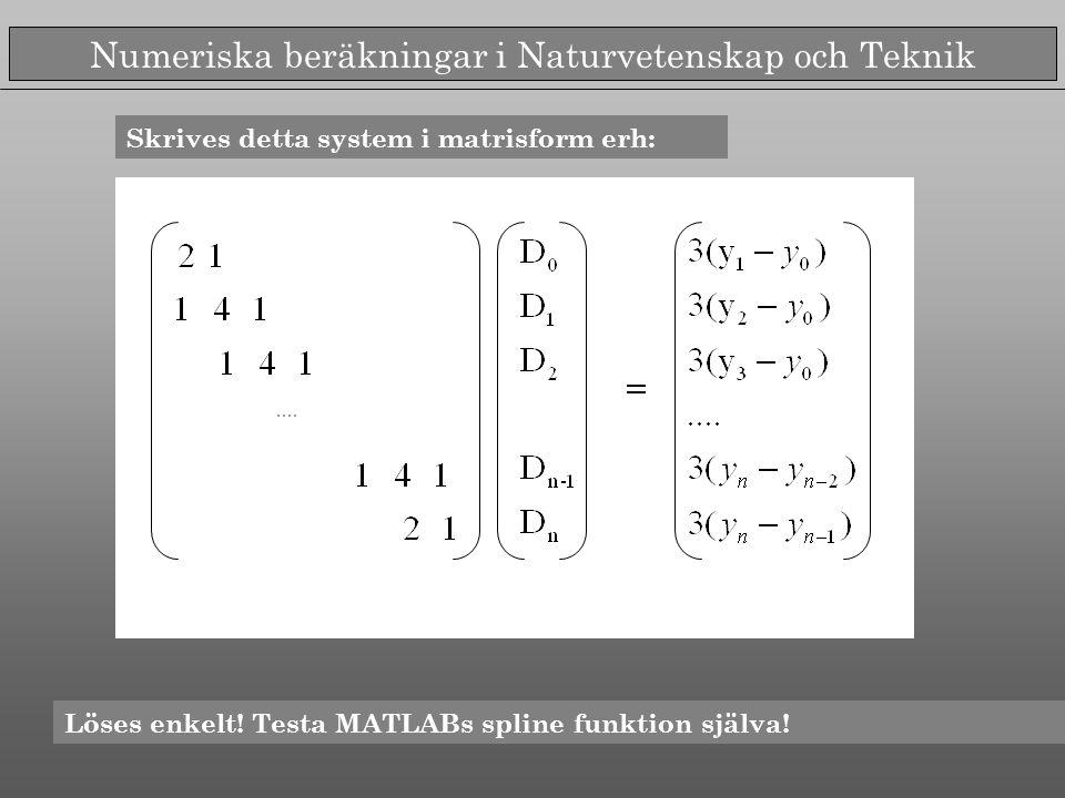 Numeriska beräkningar i Naturvetenskap och Teknik Skrives detta system i matrisform erh: Löses enkelt! Testa MATLABs spline funktion själva!