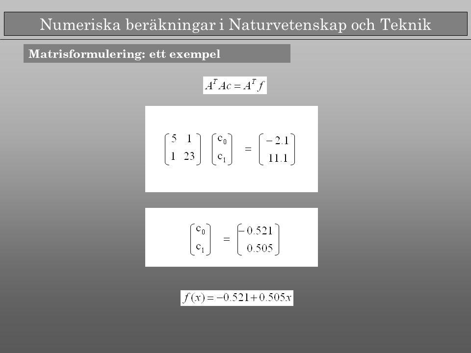Numeriska beräkningar i Naturvetenskap och Teknik Exempel Interpolation av polynom av gradtal 4,8,16 i ekvidistanta punkter Anpassning av polynom av gradtal 6 till 9 ekvidistanta punkter
