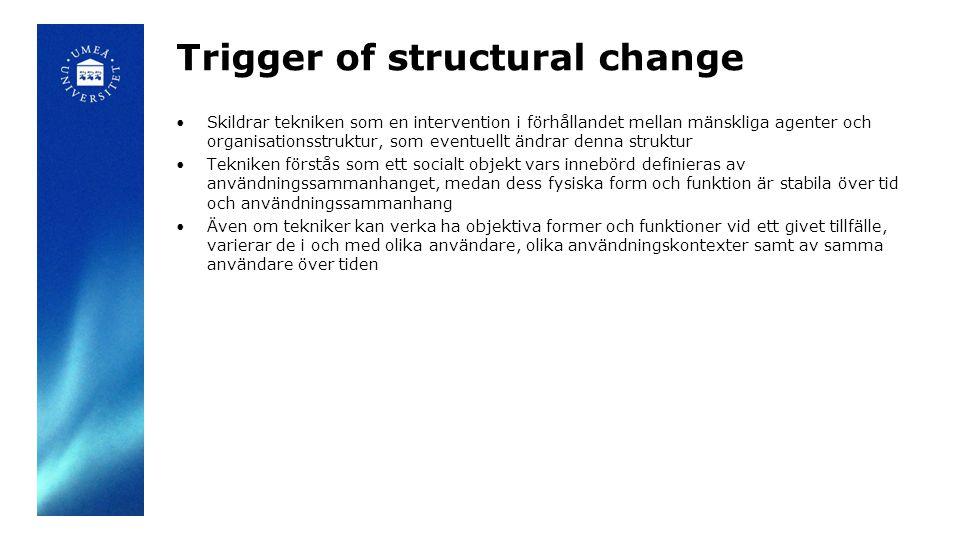 Trigger of structural change Skildrar tekniken som en intervention i förhållandet mellan mänskliga agenter och organisationsstruktur, som eventuellt ändrar denna struktur Tekniken förstås som ett socialt objekt vars innebörd definieras av användningssammanhanget, medan dess fysiska form och funktion är stabila över tid och användningssammanhang Även om tekniker kan verka ha objektiva former och funktioner vid ett givet tillfälle, varierar de i och med olika användare, olika användningskontexter samt av samma användare över tiden