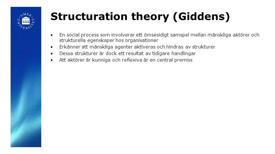Structuration theory (Giddens) En social process som involverar ett ömsesidigt samspel mellan mänskliga aktörer och strukturella egenskaper hos organi