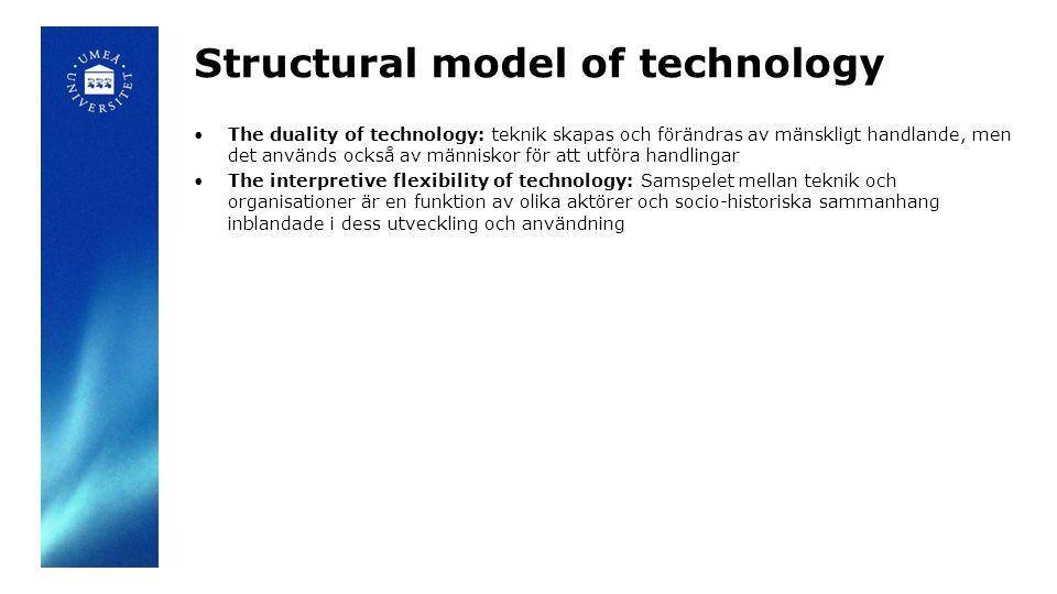 Structural model of technology The duality of technology: teknik skapas och förändras av mänskligt handlande, men det används också av människor för att utföra handlingar The interpretive flexibility of technology: Samspelet mellan teknik och organisationer är en funktion av olika aktörer och socio-historiska sammanhang inblandade i dess utveckling och användning