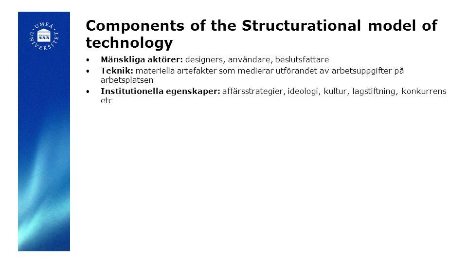 Components of the Structurational model of technology Mänskliga aktörer: designers, användare, beslutsfattare Teknik: materiella artefakter som medierar utförandet av arbetsuppgifter på arbetsplatsen Institutionella egenskaper: affärsstrategier, ideologi, kultur, lagstiftning, konkurrens etc