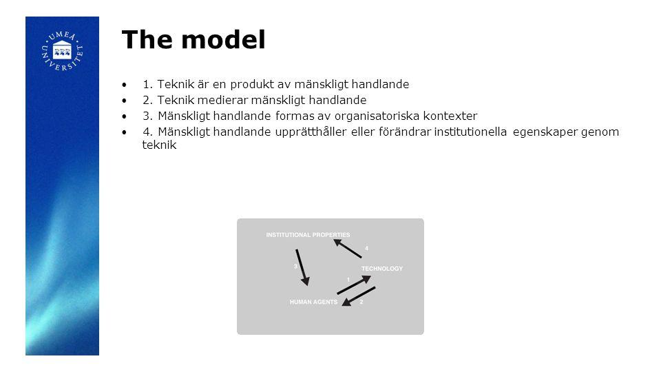 The model 1. Teknik är en produkt av mänskligt handlande 2. Teknik medierar mänskligt handlande 3. Mänskligt handlande formas av organisatoriska konte
