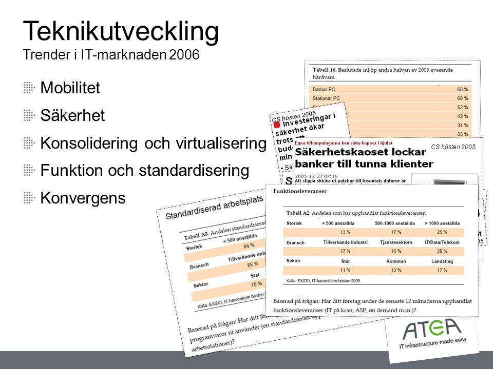 Mobilitet Säkerhet Konsolidering och virtualisering Funktion och standardisering Konvergens Teknikutveckling Trender i IT-marknaden 2006 CS hösten 200