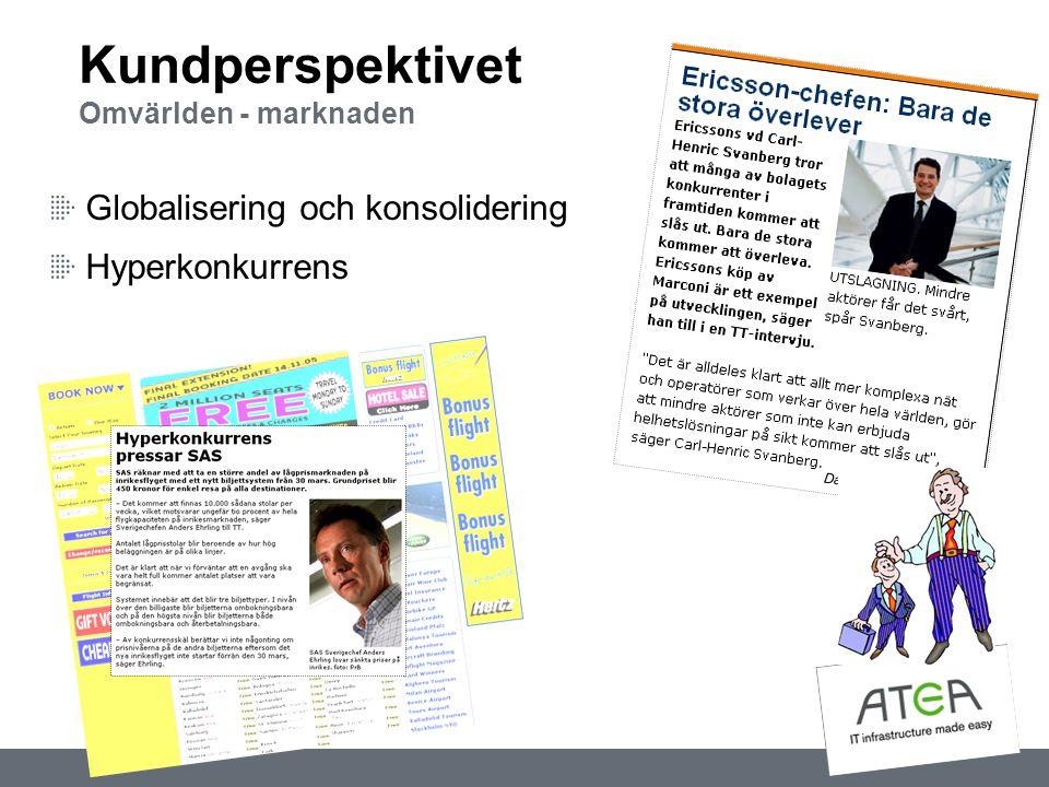 Globalisering och konsolidering Hyperkonkurrens Kundperspektivet Omvärlden - marknaden Dagens ps 2005-10-26